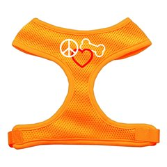 Dog Harnesses: Screen Print - PEACE, LOVE, BONE Soft Mesh Dog Harness in Several Sizes & Colors USA