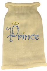 Dog Sweaters: Rhinestone PRINCE Acrylic Knit Dog Sweater in Variety of Colors & Sizes USA - Mirage
