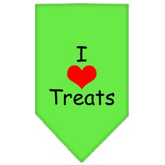 Dog Bandanas: Screen Print Cotton Dog Bandana 'I HEART TREATS' Different Colors in Small or Large by Mirage USA