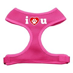 Dog Harnesses: Screen Print - I LOVE U Soft Mesh Dog Harness in Several Sizes & Colors USA