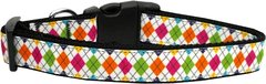 Dog Collars: Nylon Ribbon Collar by Mirage Pet Products USA - COLORFUL ARGYLE