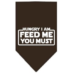 Dog Bandanas: Screen Print Cotton Dog Bandana 'HUNGRY I AM FEED ME YOU MUST' Different Colors in Small or Large by Mirage USA