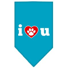 Dog Bandanas: Screen Print Cotton Dog Bandana 'I LOVE U' Different Colors in Small or Large by Mirage USA