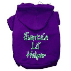 Dog Hoodies: SANTA Lil' HELPER Screened Print Dog Hoodie in Various Colors & Sizes by Mirage