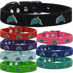Dog Collars: Cool Dog Collars with Cute DOLPHIN Widgets Genuine Leather Dog Collar in Different Colors and Sizes by Mirage USA
