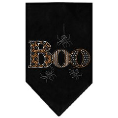 Dog Bandanas: Halloween Rhinestone 'BOO' Dog Bandanas Sizes - Small or Large in Different Colors by MiragePetProducts Made in USA