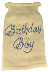 Dog Sweaters: Rhinestone BIRTHDAY BOY Acrylic Knit Dog Sweater in Variety of Colors & Sizes USA - Mirage