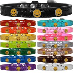 Dog Collars: Cute Dog Collars with Cute HAPPY FACE Widgets on Croc Dog Collar in Different Colors & Sizes USA