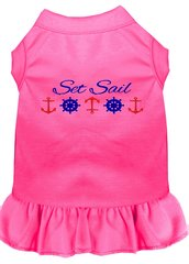 DOG DRESSES: Embroidered Dog Dress 'SET SAIL' in 7 Different Solid Colors & Sizes 10 (Sm) - 22 (4X) Made in USA