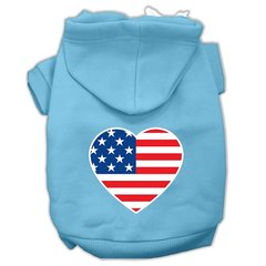 Dog Hoodies: American Flag Heart Screened Print Dog Hoodie by Mirage Pet Products USA