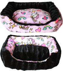 Dog Beds: Pink Unicorns Reversible Bumper Dog Bed XS, Sm, Med. Made in USA