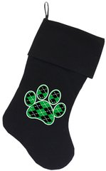 Dog Christmas Stockings: Argyle Green Paw Christmas Dog Stocking