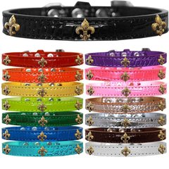 Dog Collars: Faux Croc Dog Collar with Bronze FLEUR DE LIS Widgets in Different Colors & Sizes Made in USA by MiragePetProducts