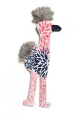 Dog Toys: Unstuffed Mingo Flamingo Shape Dog Toy Hand-Sewn with Squeaker