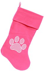 "Dog Christmas Stockings: Chevron Paw Christmas 18"" Dog Stocking"