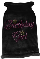 Dog Sweaters: Rhinestone BIRTHDAY GIRL Acrylic Knit Dog Sweater in Variety of Colors & Sizes USA - Mirage