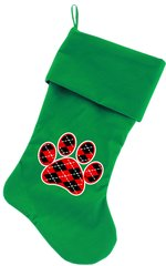Dog Christmas Stockings: Argyle Red Paw Christmas Dog Stocking