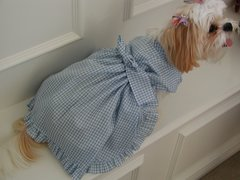 Dog Dresses: Rhapsody in Blue Gingham Cotton Dog Dress Handmade USA
