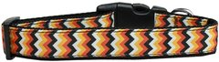 Holiday Nylon Dog Collars: Nylon Ribbon Collar Mirage Pet Products - PUMPKIN CHEVRONS