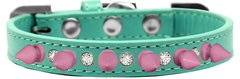 "Spiked Dog Collars: Beautiful 1/2"" Wide Collar Clear Crystals & Pink Spikes Mirage Pet Products"