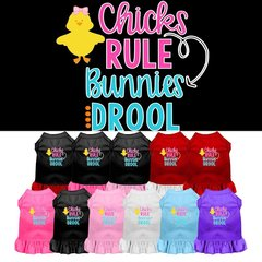 DOG DRESSES: Easter Dog Dress CHICKS RULE BUNNIES DROOL Screen Print in Different Sizes & Colors
