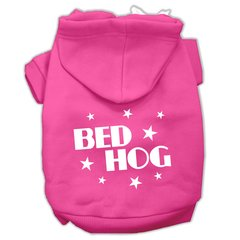 Dog Hoodies: Funny Hoodie BED HOG Screened Print Dog Hoodie by Mirage Pet Products USA