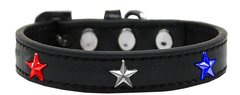 Dog Collars: Cute Dog Collar with Red, White, & Blue STAR Widgets on Premium Vegan Leather Collar in Different Colors & Sizes by Mirage
