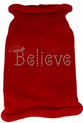 Dog Sweaters: Rhinestone BELIEVE Acrylic Knit Dog Sweater in Different Colors & Sizes - Mirage