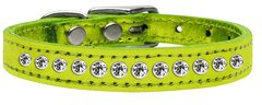 Leather Dog Collars: METALLIC Leather Jeweled Dog Collar by Mirage - ONE ROW CLEAR CRYSTALS