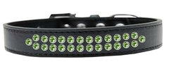 BLING DOG COLLARS: Dog Collar in Various Sizes & Colors by Mirage - TWO ROWS LIME GREEN CRYSTALS