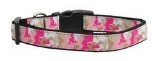 Dog Collars: Nylon Ribbon Collar by Mirage Pet Products USA - PINK CAMO