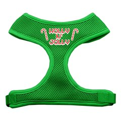 "Dog Harnesses: Screen Print - ""HOLLY N' JOLLY"" Soft Mesh Dog Harness in Several Sizes & Colors USA"