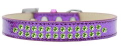 BLING DOG COLLARS: Dog Collar in Various Sizes & Colors - TWO ROWS LIME GREEN CRYSTALS/ ICE CREAM COLLAR