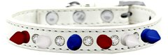 "Spiked Dog Collars: Unique 1/2"" Wide Collar One Row Clear Crystals with Red, White, Blue Spikes on Dog Collar Mirage"