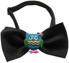 Dog Bow Ties: Chipper Cute Owls Bow Tie on White or Black Band by Mirage