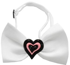 Dog Bow Ties: Chipper Valentine Bow Tie on White or Black Band by Mirage