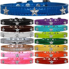 Dog Collars: Cute Dog Collars with Cute SILVER STAR Widgets on Croc Dog Collar in Different Colors & Sizes USA