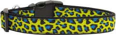 Dog Collars: Nylon Ribbon Collar by Mirage Pet Products USA - BLUE & YELLOW LEOPARD