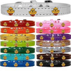 Dog Collars: Cute Dog Collars with Cute CHICKADEE Widgets on Croc Dog Collar in Different Colors & Sizes USA