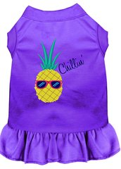 DOG DRESSES: Embroidered Dog Dress PINEAPPLE CHILLIN' in 7 Different Solid Colors & Sizes 10 (Sm) - 22 (4X) Made in USA