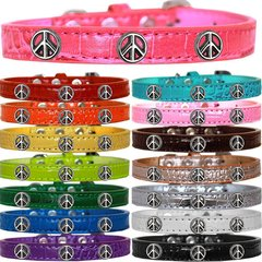 Dog Collars: Cute Dog Collars with Cute PEACE SIGN Widgets on Croc Dog Collar in Different Colors & Sizes USA