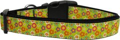 Dog Collars: Nylon Ribbon Dog Collar by Mirage Pet Products - LIME SPRING FLOWERS