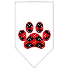 Dog Bandanas: Screen Print 'ARGYLE PAW RED' Cotton Dog Bandanas by Mirage