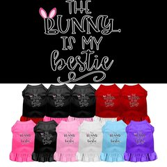 DOG DRESSES: Easter Dog Dress BUNNY IS MY BESTIE Screen Print in Different sizes & Colors