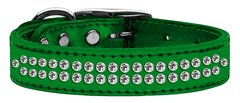 Leather Dog Collars: Genuine METALLIC Leather Bling Dog Collar by Mirage - TWO ROWS CLEAR CRYSTALS