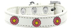 Dog Collars: Cute Dog Collar with PINK DAISY Widgets on Premium Vegan Leather Dog Collar in Different Colors & Sizes by Mirage USA