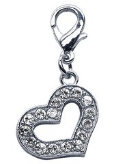 Pet Charms: Beautiful Austrian Crystals Dangle Dog Heart Charm for Dog Collars Mirage
