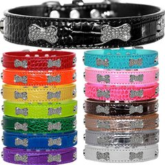 Dog Collars: Cute Dog Collars with Cute CRYSTAL BONE Widgets on Croc Dog Collar in Different Colors & Sizes USA