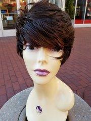 """100% Human Hair wig 6"""" Med Brown #4"""