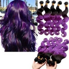 Hot In Stock 7A 1pcs ombre purple brazilian hair 100% ombre human hair weaving two tone ombre body wave hair bundles